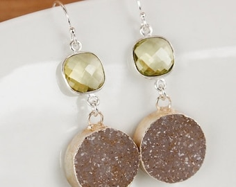 50% OFF Silver Yellow Lemon Quartz and Brown Agate Druzy Earrings - 925 Silver - Dangle Earrings