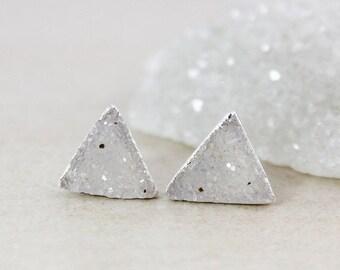 LABOR DAY SALE Feminine Druzy Studs - Triangle Cut - Choose Your Druzy