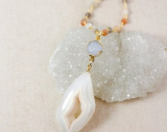 50 OFF SALE Druzy Pendant Layering Necklaces – Choose Your Druzy Agate Pendant – Peach Moonstone Chain