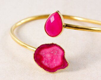 Gold Pink Geode & Pink Chalcedony Cuff – Geode Bracelet