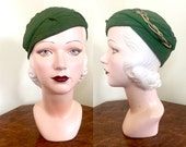Vintage 1930s hat Green NRA toque with extraordinary braided rayon and metal trim
