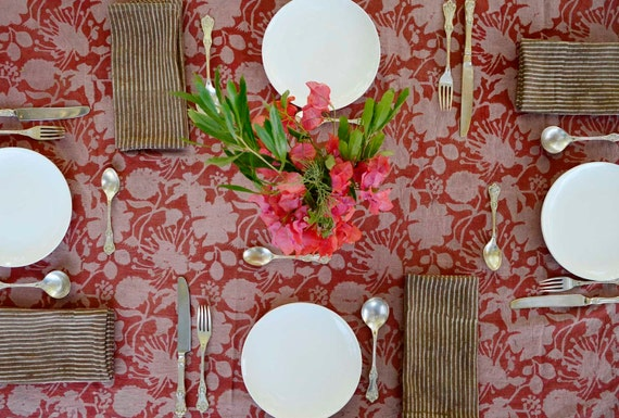 TABLECLOTH floral organic cotton indian block print rectangular bohemian boho tabletop home decor kitchen dining wedding linens - Le Fleur
