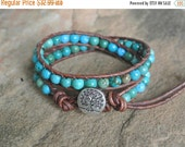 SALE Tree of Life Turquoise Beaded Leather Wrap Bracelet