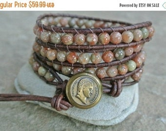 SUMMER SALE Napoleon Jasper Beaded Leather Wrap Bracelet  LAST One