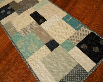 Modern Quilted Table Runner in Smoky Grey Navy Aqua Teal and Cream, Contemporary Minimalist Table Runner, Quiltsy Handmade