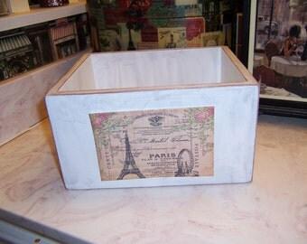 Paris Eiffel Tower storage box,French Farmhouse,Paris decor,Paris theme,French rustic,French wedding decor,French decor