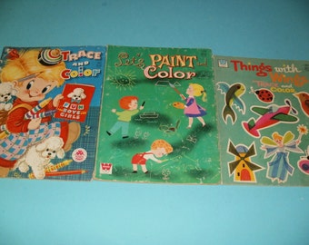 Vintage Group of Tracing and Painting Childrens Coloring Books by Whitman and Merrill - Children, Art, Coloring