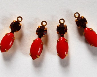 Vintage Glass Beads Cherry Red Navette Marquis Pendant Beads 15x5mm w/ Ruby Rhinestone Brass