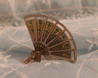 Vintage Damascene Spanish Fan Brooch Pin Pendant Articulated FREE Shipping