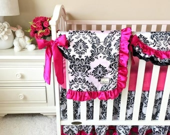 Bumperless Black and White Damask and Hot Pink Crib Set, Hot Pink Crib Bedding, Damask Baby Bedding Set, Baby Bedding for Girls