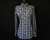 vintage plaid pearl snap shirt 70s navy metallic striped button down men's rockabilly shirt large