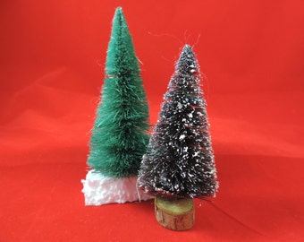 vintage bottle brush christmas tree collection miniature flocked trees diorama Christmas village