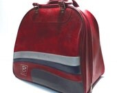 Red and Grey Brunswick Bowling Bag Vintage 1970s Rockabilly Bowling Ball Bag