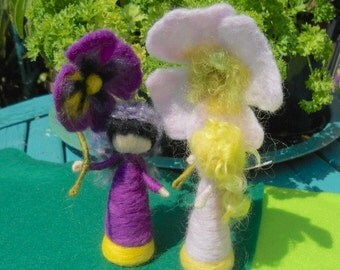 Waldorf Flower Fairies, Pansy Fairy, Play Mat, Play Scape, Hand Felted Fairy, Needle Felted Fairy, Nature Table, Purple, Yellow and Black