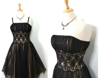 Vintage 80s Black Mesh Lace Dress, Vintage Party Dress, Lace Illusion  Full Skirt Prom Cocktail dress