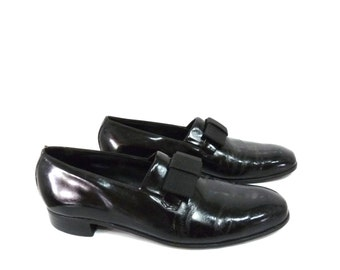 Vintage Florsheim Patent Black Leather Shoes Bow Oxfords Tuxedo loafers Dress shoes Mens 8.5D