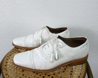 Vintage White Snake Leather Men's  shoes Giorgio Brutini Oxfords Loafer Tassel Wedding Dress Shoes Size 10M