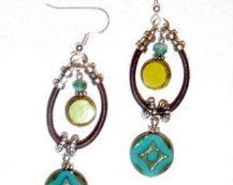 Leather Earring Kit- Hoopla Lime/Teal