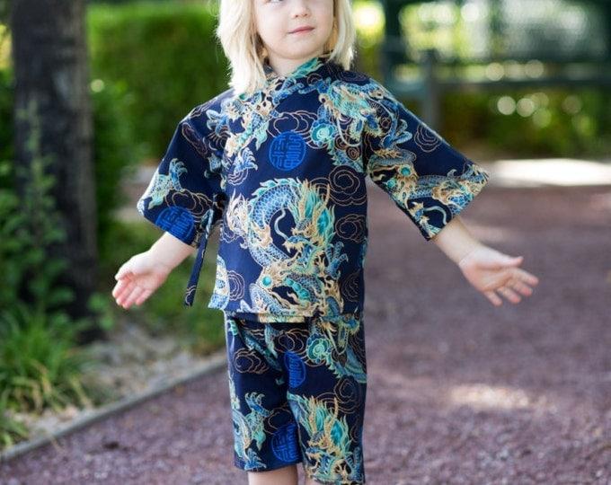 Kids Kimono Jinbei - DRAGON  - Japanese pajamas loungewear boys kimono outfit boys pajamas