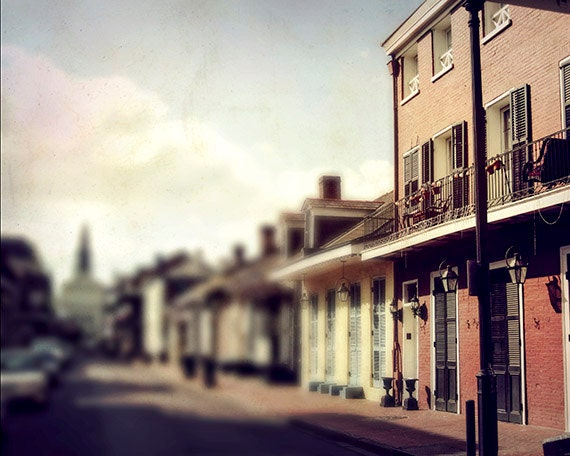 """New Orleans Art.  """"Walking on Orleans"""" French Quarter Photograph. Architecture, Mardi Gras."""