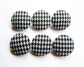 Sewing Buttons / Fabric Buttons - 6 Small Fabric Buttons Set - Houndstooth Buttons - Fabric Covered Buttons