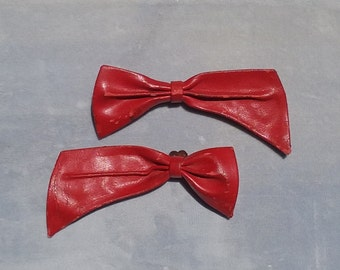 Vintage Red Leather Bows Shoe Hat Coat Clips Halloween Costume Accessories