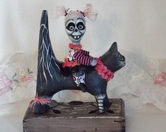 Halloween Ghoul Girl and Black Cat Art Dolls Midnight Ride Halloween Handmade Folk Art