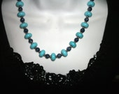 Blue Turquoise Sterling Silver   and  Lapis  necklace OOAK