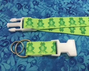 Green Frogs Lanyard with Removable Key Chain End