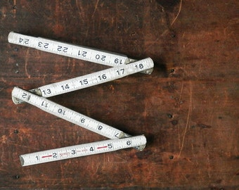 White Folding Yardstick, 6 Foot Ruler, Vintage Royal Tool, Rustic Decor, Farmhouse Decor, Made in USA