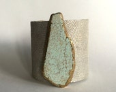 "textured metallic paisley leather cuff bracelet with gilde magnesite slice - 2.5"" wide cuff"