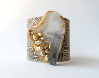 "leather cuff bracelet  - gold metallic patterned leather with mother of pearl - 2"" wide"