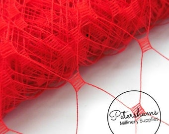 """Mega English Merry Widow Veiling for Fascinators & Millinery 12"""" (30cm) Wide 1m- Red Mega Merry Widow"""
