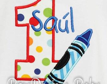 Crayon Birthday Shirt, Boys or Girls, Any Age, Custom Colors and Fabric