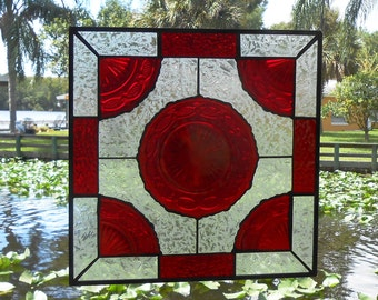 Stained Glass Window Plate Panel, Vintage Avon Cape Cod Ruby Red Dishes, Stained Glass Transom Window, Antique Window Stained Glass Panel