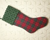 Striking Red, Green, and Blue Tartan Plaid Flannel and Vintage Chenille Heirloom Christmas Stocking