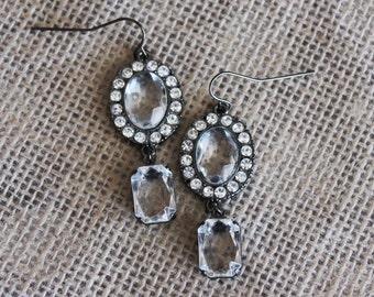 Gemstone & Rhinestone Gunmetal Dangle Earrings, Art Deco Bridal Earrings, Glam Vintage Hollywood Style Jewelry, Clear Acrylic Gemstones