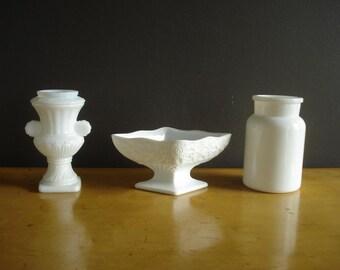 Unmatched Trio  - Milkglass Vases - Milk Glass Set of Three - Piece made in Belgium