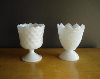 Delicate Duo - Milkglass Vases - Milk Glass Set of Two