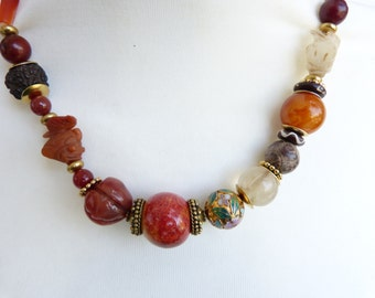 Antique Carved Jade Fish Chinese Necklace with  ancient Tibetan Pema Raka carnelian bead and ancient rock crystal beads OOAK