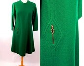 1960s wool tweed dress Parkshire Original mod 60s dress Size L