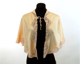 1930s silk bed jacket cape peach silk with lace