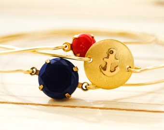 Anchor Bracelet Set - Nautical, Beach Jewelry, American, Minimalist, Boho Bracelet Set, Red and Navy