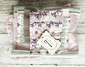 Vintage french fabrics, blanket, haberdashery label- bundle of possibilities, lilacs