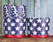 Grand patriotique Candy marine les tasses, tasses marine Cupcake, caissettes, 4 juillet Cupcake tasses, tasses de Memorial Day de régal, étoiles Candy tasses (12)
