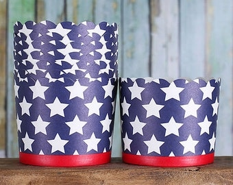 Large Patriotic Baking Cups, Navy Cupcake Cups, Navy Candy Cups, 4th of July Cupcake Cups, Memorial Day Treat Cups, Star Candy Cups (12)