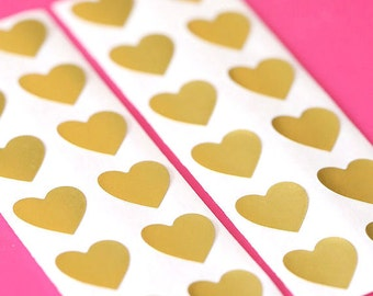 "1/2"" Gold Heart Stickers, Christmas Stickers, Gold Heart Seals, Gold Stickers, Gold Seals, Heart Favor Bag Seals, Heart Envelope Seals"