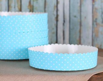 """Blue Tart Pan, Small Tart Pans, Holiday Tart Pans, Quiche Pans, Cheesecake Pan, Baking Pans, 5"""" Paper Tart Pans, Disposable Tart Pans (6 ct)"""