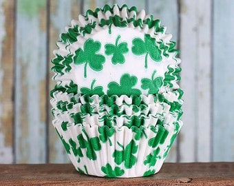 Shamrock Cupcake Liners, St. Patty's Day Baking Cups, St Patrick's Day Cupcake Liners, Clover Cupcake Liners, St Paddy's Day Liners (50 ct)