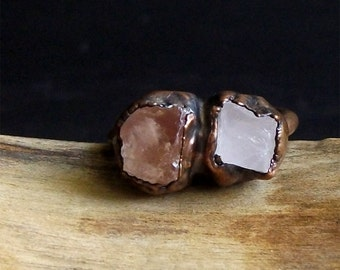 Raw Crystal Topaz Ring Rose Quartz Copper Dual Raw Crystal Ring Rough Stone Jewelry Size 5.5 November Birthstone Ring Midwest Alchemy